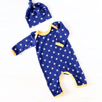 Baby Boy Romper - Baby Going Home Outfit - Baby Romper - Newborn Romper - Layette - Newborn - 0-3 months - 3-6 months - READY TO SHIP