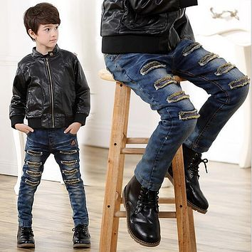 Children Brand Jeans Boys Pants Ripped Hole Jeans 2017 Spring Autumn Light Wash Boys Jeans for Boys Solid Color Children's Jeans