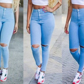 New fashion summer Hot sale women jeans Pencil pants mid full length sexy Hole skinny jeans plus size [7672105350]