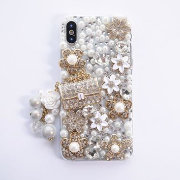 Dir-Maos For iPhone X Case 5.8'' Diamond Pearl Luxury Lady Fashion Handbag Glitter Bling Cute Pendant Cover Lady Girl Friend HOT