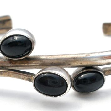 Sterling Silver Cuff with Black Onyx Gemstones Vintage