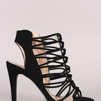 Qupid Nubuck Strappy Open Toe Heel