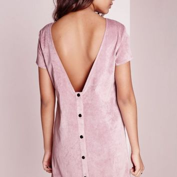 Missguided - Popper Back Shift Dress Baby Cord Mauve