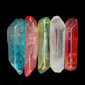 5pcs Beautiful Rich Rainbow Titanium Aura Lemurian Seed Quartz Crystal Point