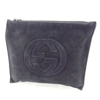 Gucci Pouch Bag Interlocking Black Woman Authentic Used Y4973