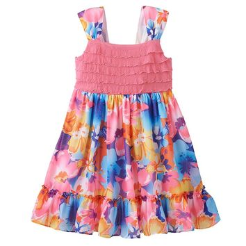 Youngland Floral Ruffle Dress - Toddler Girl, Size: