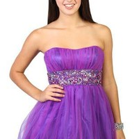 two tone tulle strapless fit and flare junior homecoming dress - debshops.com