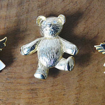 Children's Jewelry, Teddy Bear Brooch, Angel Pins, Vintage Kid's Jewelry