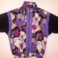 Vintage Pierre Cardin 80s  All over Floral Print Purple Black Windbreaker w/ Gold Chains Jacket Medium  Track Jacket Dope Full zip