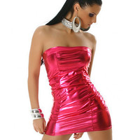 Strapless Leather Bodycon Mini Dress