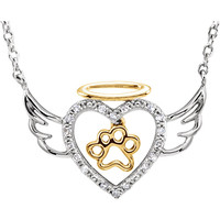 "ASPCA Tender Voices® Sterling Silver .08 CTW Diamond Angel Heart Paw 18"" Necklace"