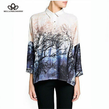 2015 spring summer New forest landscapes tree printed over-sized loose style women blouses shirts plus size batwing sleeve