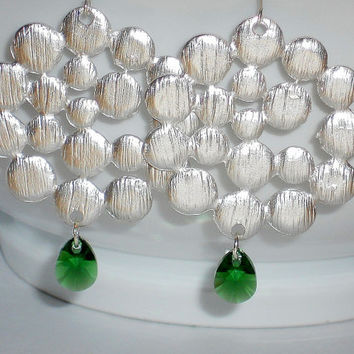 silver round earrings, green crystal earrings, gift for her