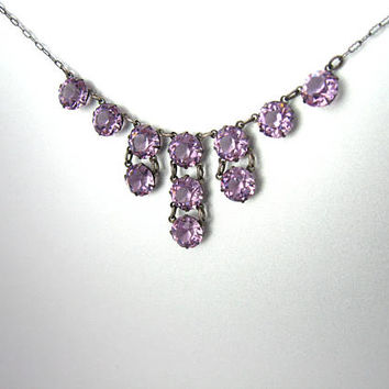 Art Deco Crystal Necklace. Amethyst Pink Fringe Choker. Open Back Crystals, Sterling Silver Paperclip Chain. Vintage 1920s Art Deco Jewelry.