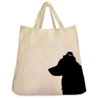 Border Collie Silhouette Extra Large Eco Friendly Reusable Cotton Canvas Tote Bag