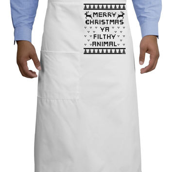 Merry Christmas Ya Filthy Animal Christmas Sweater Adult Bistro Apron