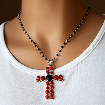 Huge Red Coral and Onyx Cross Pendant Necklace, 925 Sterling Silver, Black Onyx, Extra Large Cross, Rosary,  Religious Jewelry