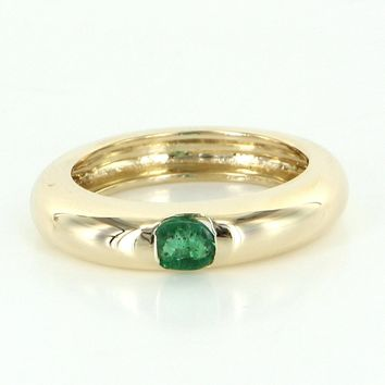 Vintage Emerald 14 Karat Yellow Gold Stacking Ring Estate Fine Jewelry Pre Owned 6