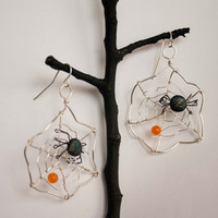 Silver Spider Web Earrings, Wire Wrapped, Orange Jade, Halloween Earrings