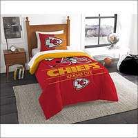 """Chiefs OFFICIAL National Football League, Bedding, """"""""Draft"""""""" Printed Twin Comforter (64""""""""x 86"""""""") & 1 Sham (24""""""""x 30"""""""") Set  by The Northwest Company"""