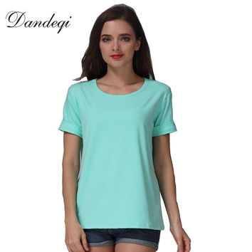 2017 New Women T-shirt Candy Colors Female Roll-up Short Sleeved Harajuku Shirts Basic Bottoming Casual O-neck Tee Mujer