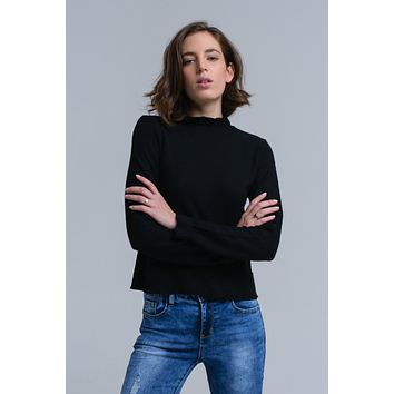 Sweater with ruffle in black