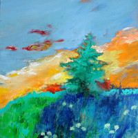 "Landscape Painting Original Abstract on Canvas ""A Tree Alone at Sunrise"""