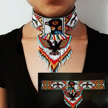 Eagle Choker, Huichol Eagle Necklace, Native American Beaded Choker, Seed Bead Choker, Tribal Choker, Thunderbird Choker, Tribal Fashion