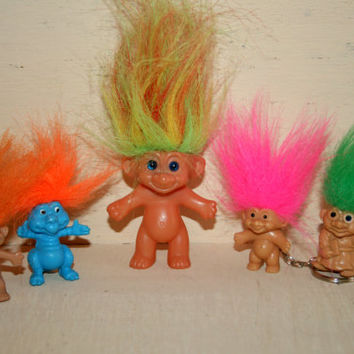 Vintage Troll Treasure Troll Doll Troll Collection Russ Korea 1991 Troll Keychain Troll Pencil Topper Kitsch Neon Hair