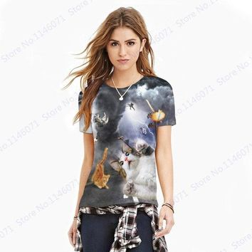 Laser Blade Cat Yoga Sports T-Shirts Cool Lightning Kitty Running Tee Shirt Summer Active Loose Fitness Women Shirts Tops Blousa