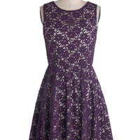 ModCloth Mid-length Tank top (2 thick straps) A-line Topiary Artist Dress in Plum