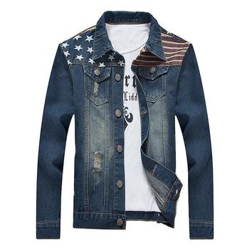 Plus Size Casual Vintage Printing Multi Pockets Hollows Pipped Denim Jackets for Men