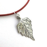 Leaf Necklace, Silver, Nature, Woodland, Cotton Cord, Red, Etched