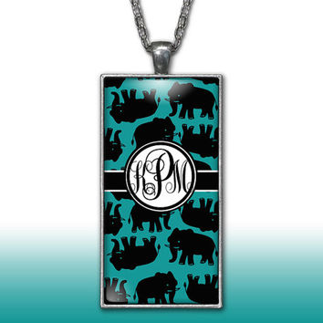 Elephants Monogram Pendant Charm Necklace Black Teal Turquoise Personalized Custom Initial Necklace Monogram Jewelry