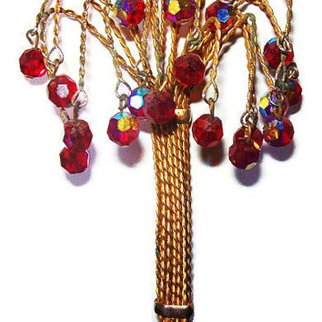 "Dangling Crystal Bead Tree Brooch Red Purple Stones Gold Wire Wrapped BIG Boho Chic 4.5"" Vintage"