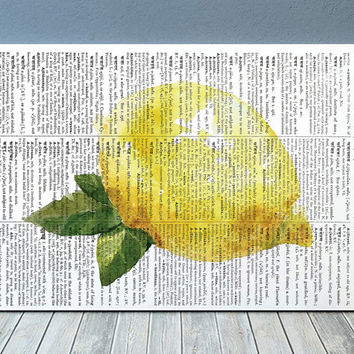 Lemon decor Fruit poster Kitchen print Dictionary print RTA1959