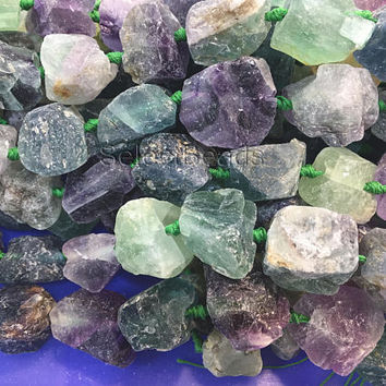 rainbow fluorite gemstone raw nuggets - chunky natural fluorite beads - rough gemstone beads - gemstone nugget beads -15inch