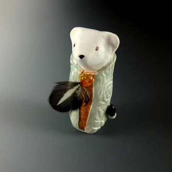 Art Sculpture Ermine Totem in Patterned Cloak Feather Citrine