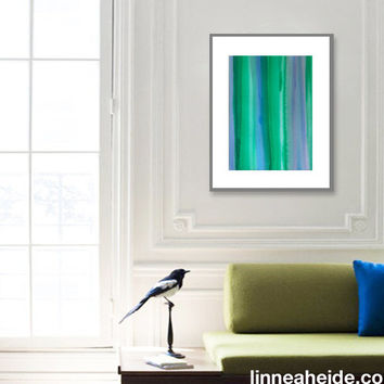 Large Watercolor Painting - original abstract fine art - abstract expressionism - ombre colorblock - colorful - blue green