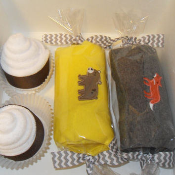 Baby Boy Shower Gift Washcloth Cupcakes Gift Box Bear Fox Theme Chevron
