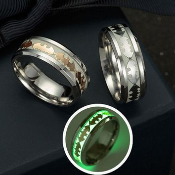 Luminous Glow In The Dark Batman Couple Rings (A Set)