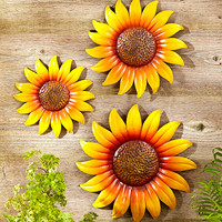 Wall Sunflower Set Metal Sculpture Indoor Outdoor