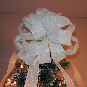 Large White glitter Christmas Tree topper bow