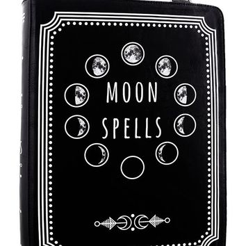 Witchcraft Moon Spell book book shape shoulder bag