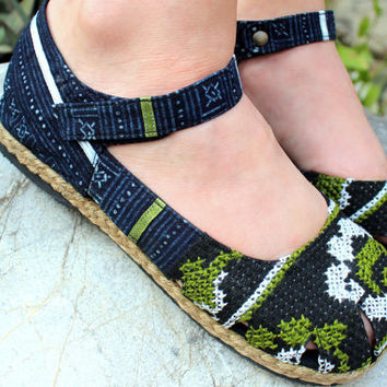 Mary Jane Womens Shoe Hmong Embroidery And Indigo Batik Vegan Espadrille