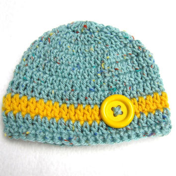 Baby Cap Sea Blue Tweed with Yellow Button, Ready to Ship Baby Hat Photo Prop, 0 to 3 months Crochet Baby Beanie
