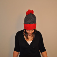 Slouchy Beanie Red and Gray Two Tone Pom Pom