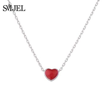 SMJEL Fashion Tiny Red Heart Pendants &Necklaces for Women Choker Beauty Love Heart Jewelry Wedding Birthday Gifts SYXL084