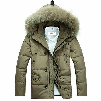Casual Hooded Winter Coat Men Thick Warm Windproof Jacket Men Winter  Big Fur Collar  Down Jacket