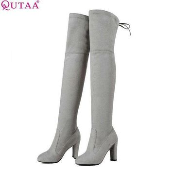 DCK7YE QUTAA 2017 Women Over The Knee Boots Sexy PU leather Square High Heel Women Shoes Wint
